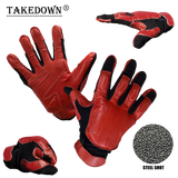 X-Large Red & Black Real Leather Sap Gloves