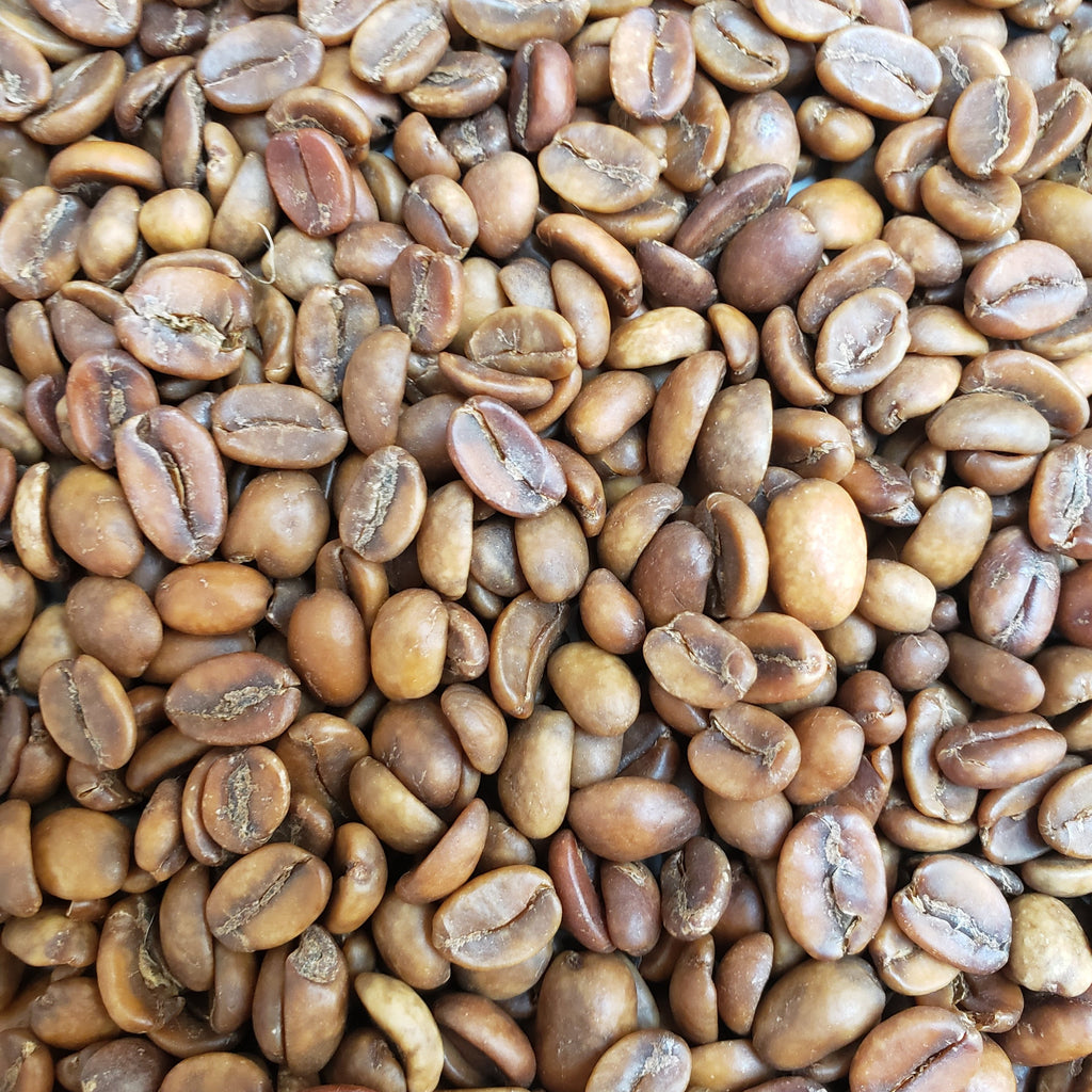 decaffeinated green coffee beans.  These unroasted coffee beans are from Colombia.