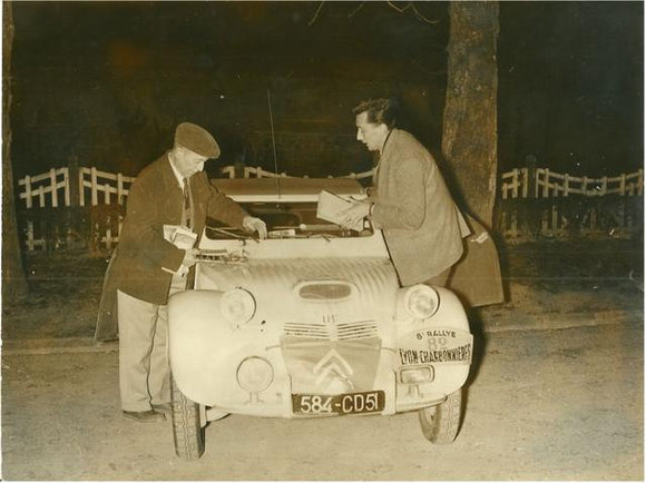 Original Press Pic. Citroen 2CV Dagonet, Lyon - Charbonniere Rally 1955