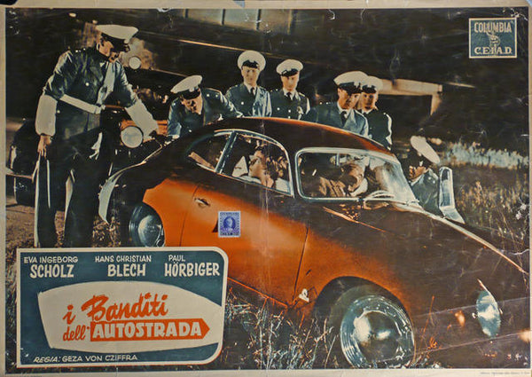 i Banditi dell'Autostrada Italy 1955, Original Movie Poster, Porsche 356