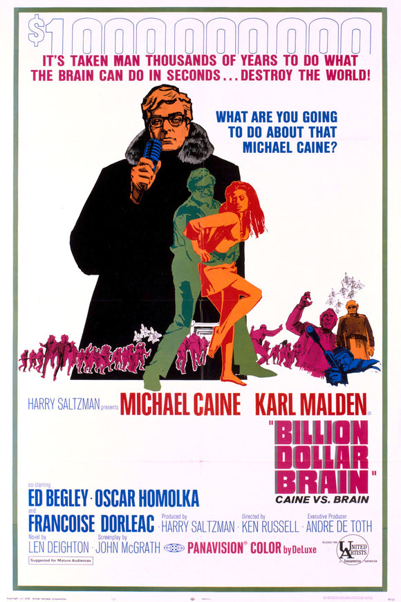 The Billion Dollar Brain, Michael Caine, Original Movie Poster, USA 1966