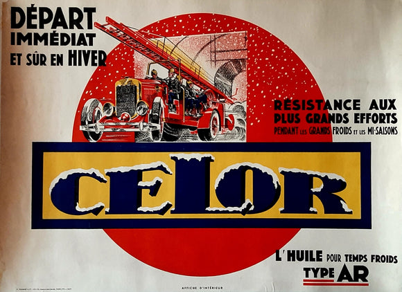 Original Poster, France, 1931. CELOR Lubricants. Fire Engine