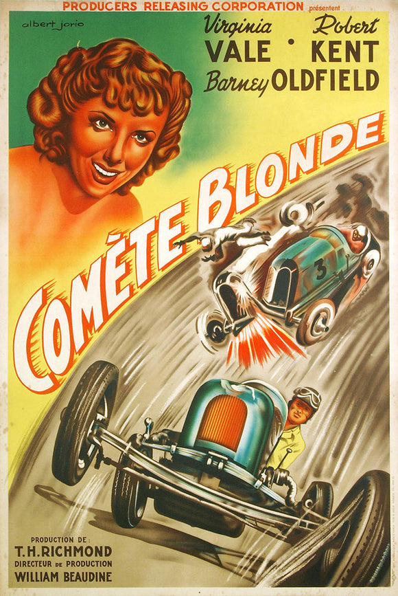 Comete Blonde - BLONDE COMET, USA 1941 - Original French Poster - Motor Racing, Indianapolis, Miller