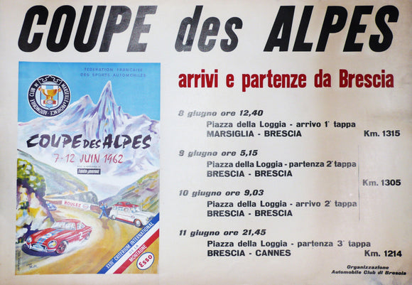 Coupe des Alpes Rally, Original Poster, 1962