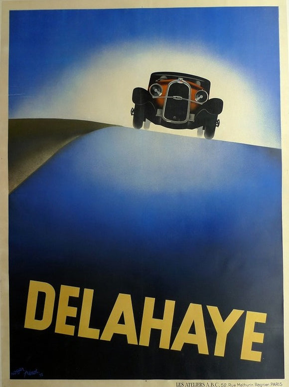 Delahaye, Late 1970s Repro of superb 1920s Advertising Poster