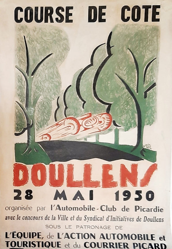 Original Poster, France 1950 for Doullens Course de Cote. Hill Climb, Motor Racing