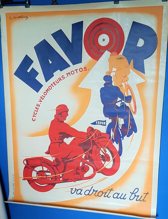 FAVOR Motorcycles, Velos, Bicycles - Original Poster c.1928 Art Deco, France