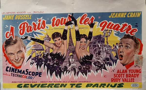 Gentlemen Marry Brunettes, Belgium 1954, Original Movie Poster, Jane Russell