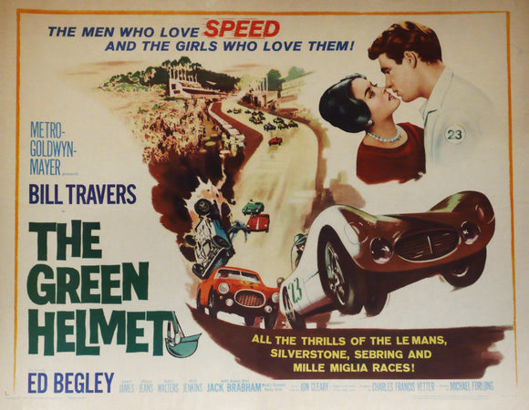 The Green Helmet - Original Motor Racing Movie Poster, USA 1961. Features Maserati Birdcage and Ferrari