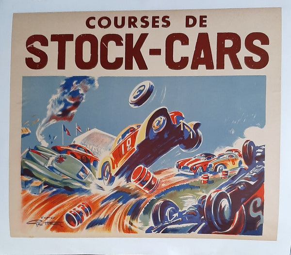 Geo Ham Original Stock Car Racing Poster, early 1950s