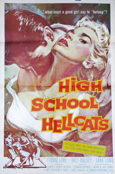 high school hellcats original us movie poster 1958