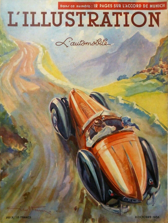L'Illustration, Oct, 1938. Automobile Special, Geo Ham Cover