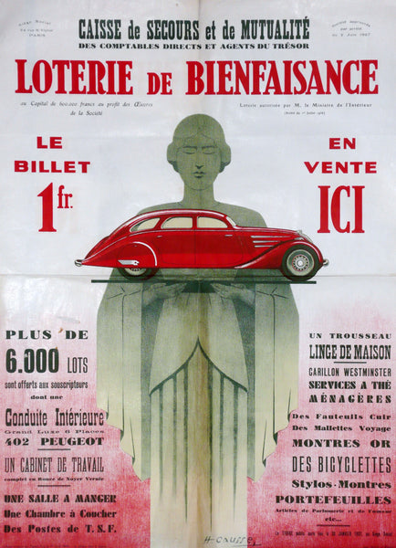 French Lottery, Original Art Deco Poster, 1937