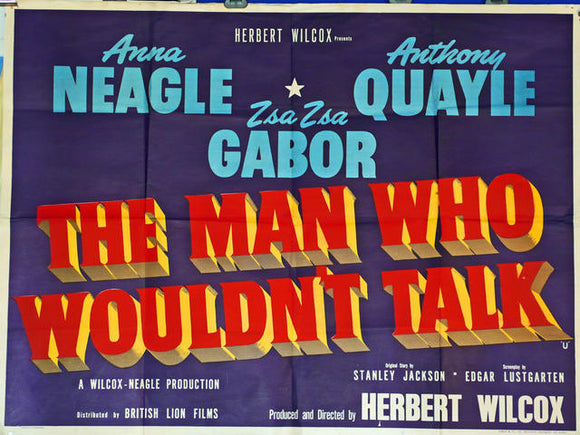 The Man Who Wouldn't Talk  UK Quad 1958