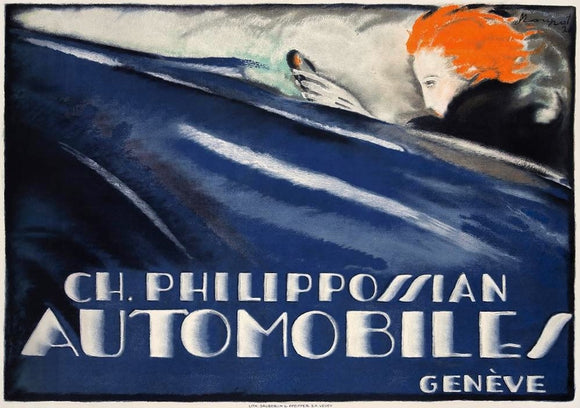 Philippossian Automobiles of Geneva - Old Repro of famous 1920s Poster