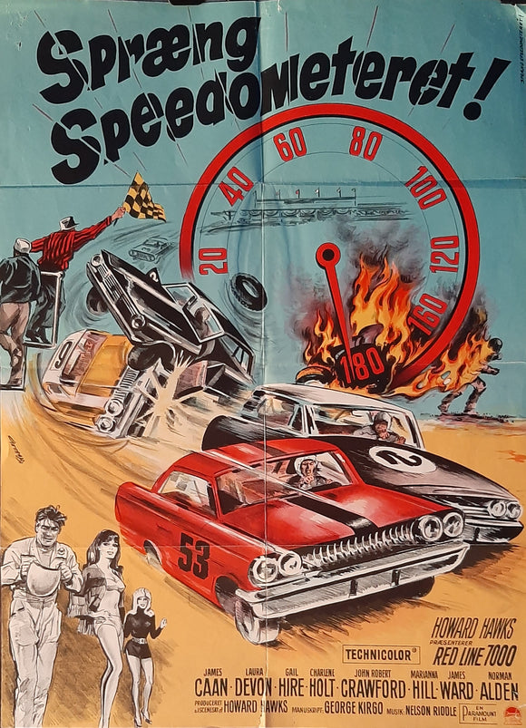 Red Line 7000, Original Motor Racing Movie Poster from Norway. James Caan, Nascar