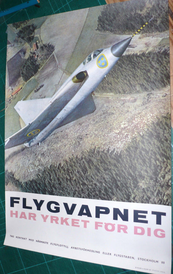Original Poster Swedish Air Force Recruitment Poster