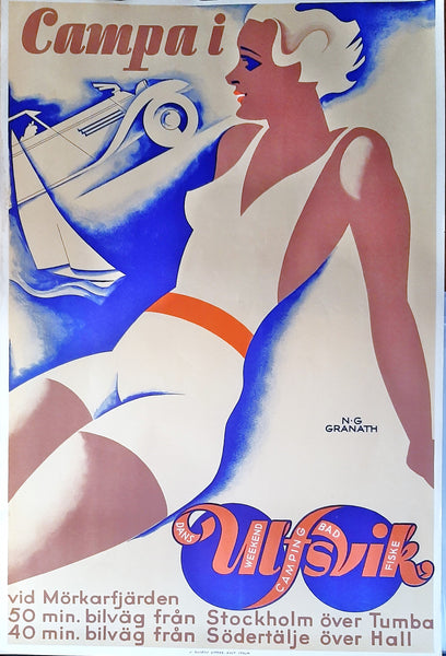 Original Swedish Tourist Poster, 1930 Art Deco