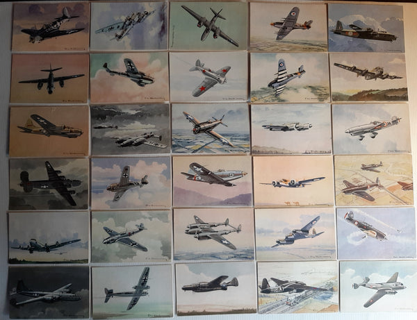 30 Original French Aviation Postcards, c.1950, Charbonneau