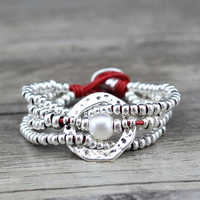 Contemporary round sea shell multi-layer silver beaded bracelet
