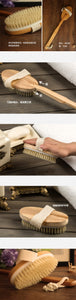 A traditionally made timber bristle bath brush with long handle by Heed Need