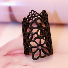 Fashion forward - yellow gold or black detailed flower outline knuckle rings by Heed Need