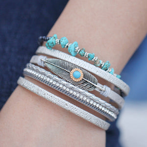 Bohemian styled leather charm bracelets with stone inclusions