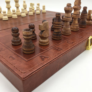 Quality leather and timber backgammon, checkers & chess set by Heed Need