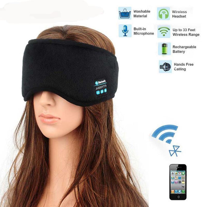 Comfortable sleep mask with bluetooth and wireless capability to soothe you to sleep by Heed Need