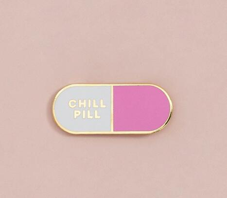 An awesome Chill Pill enamel brooch/pin by Heed Need