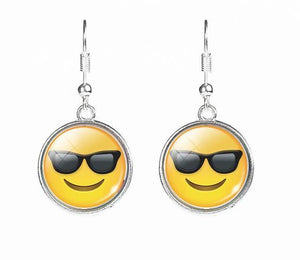 Entertaining mood emoji drop earrings on silver shepherd hook by Heed Need