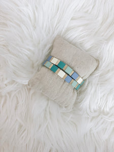 Color Block Stretch Bracelet- Blue