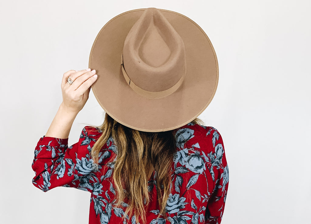 Laurel Wide Brim Hat- Pecan