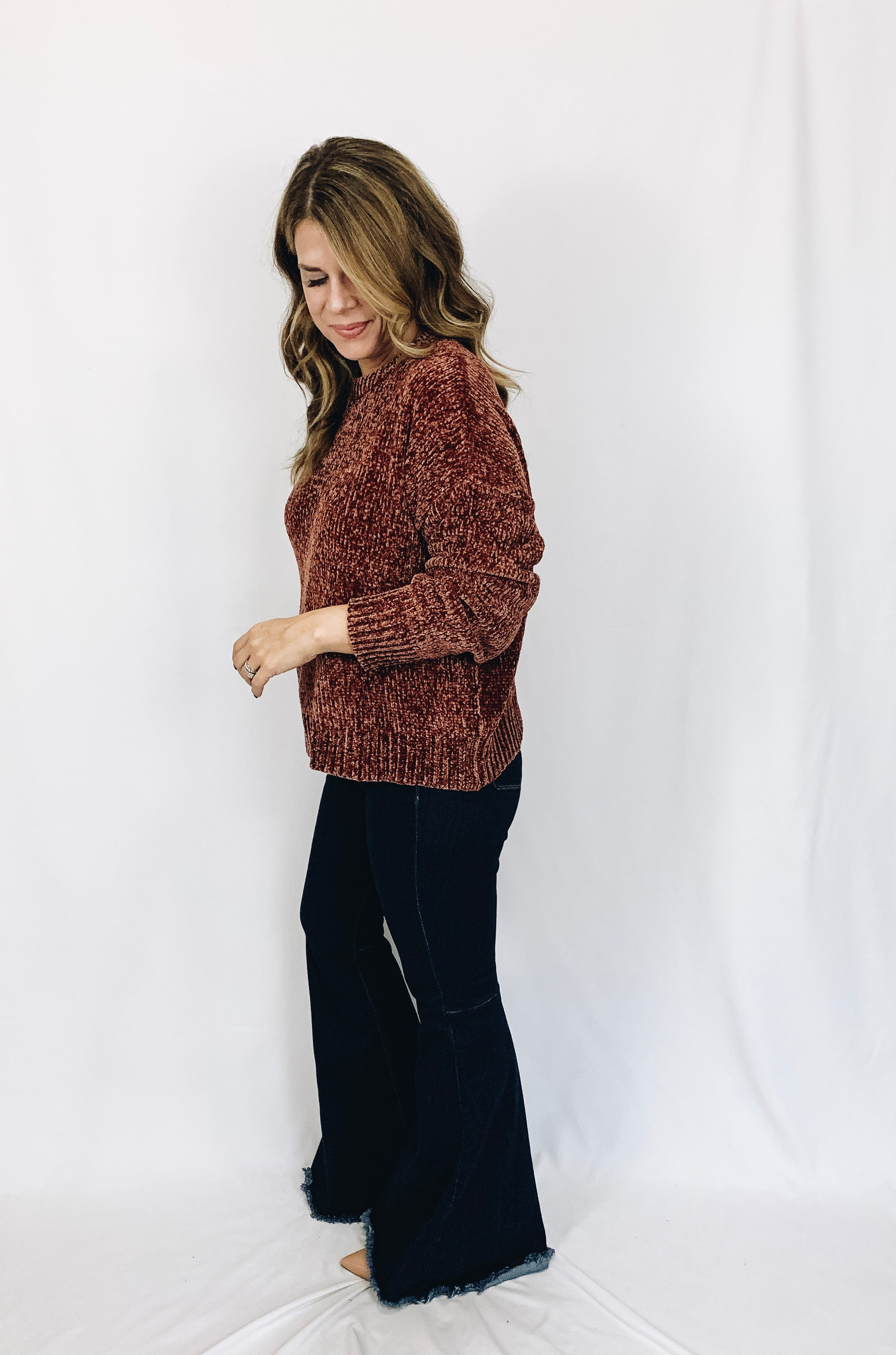 Morgan Chenille Sweater- Rust