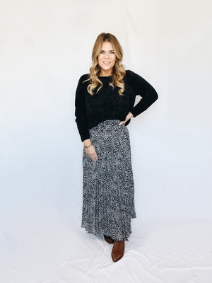Elliot Leopard Maxi Skirt- Black