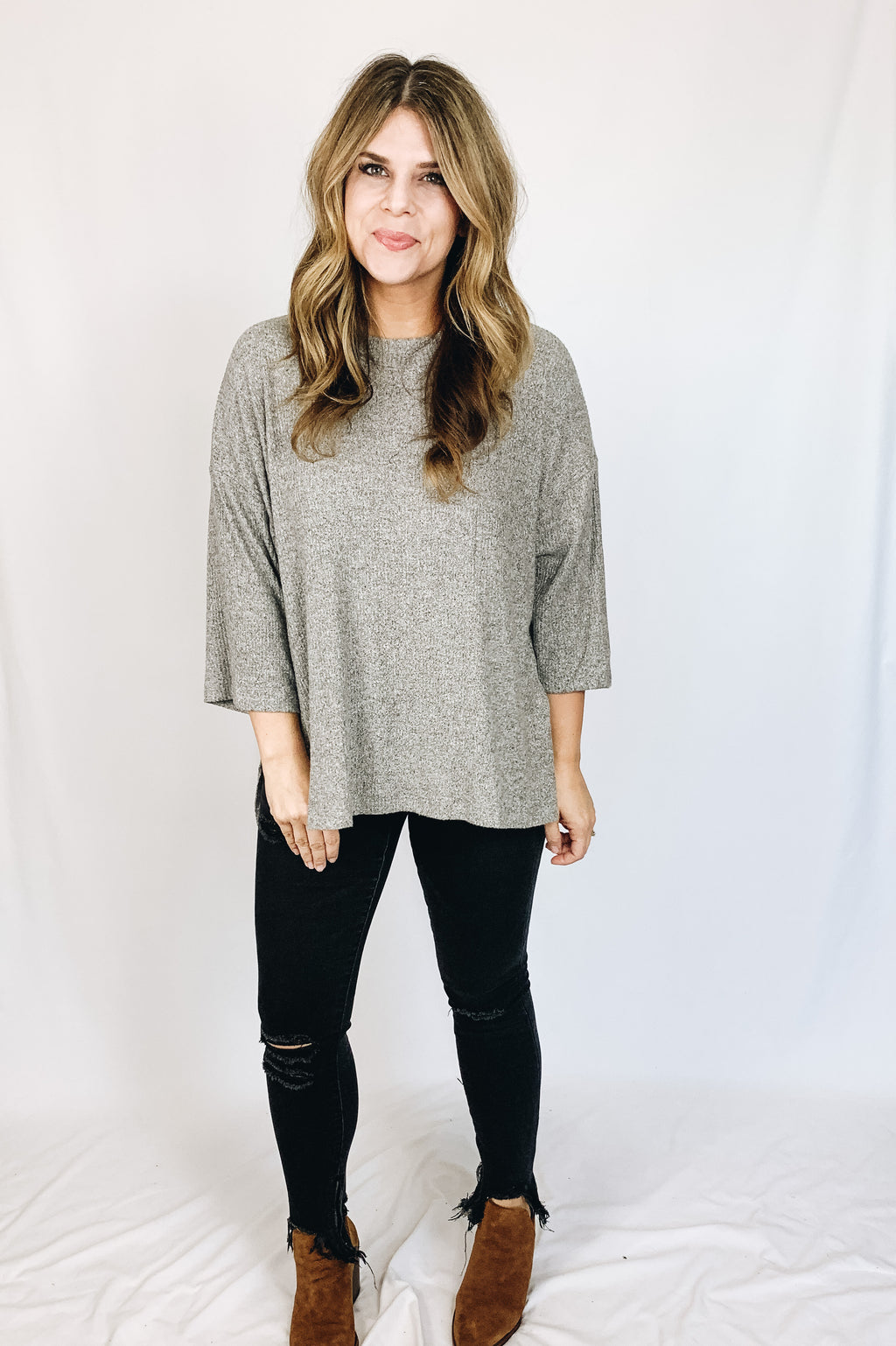 Briley Top- Heather Gray