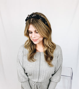 Scrunched Floral Headband- Black