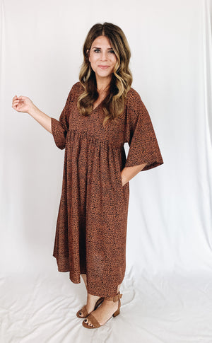 Asher Leopard Midi Dress