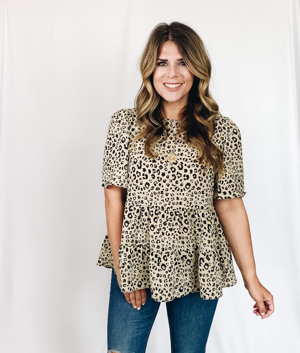 Kennedy Leopard Top- Sand