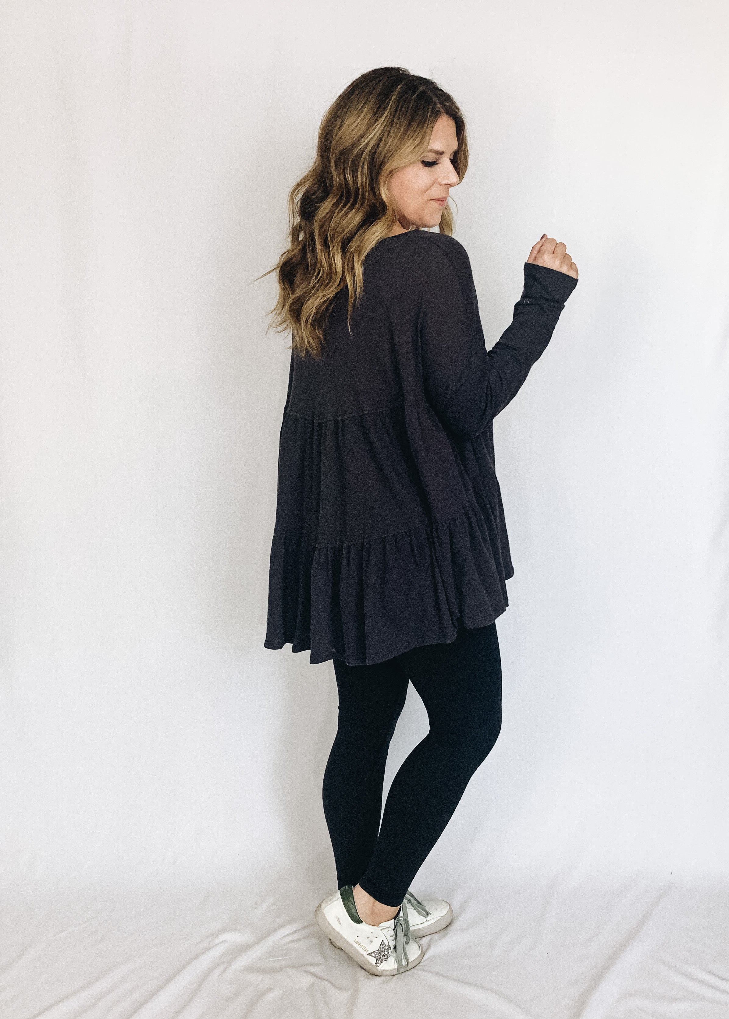 Heather Top- Charcoal