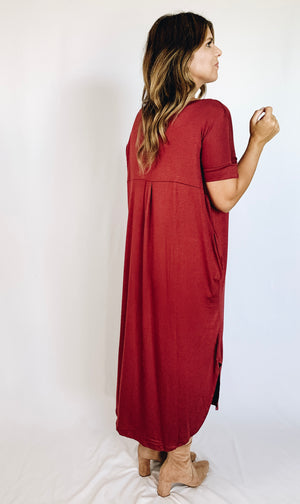 Dru Midi Dress - Brick