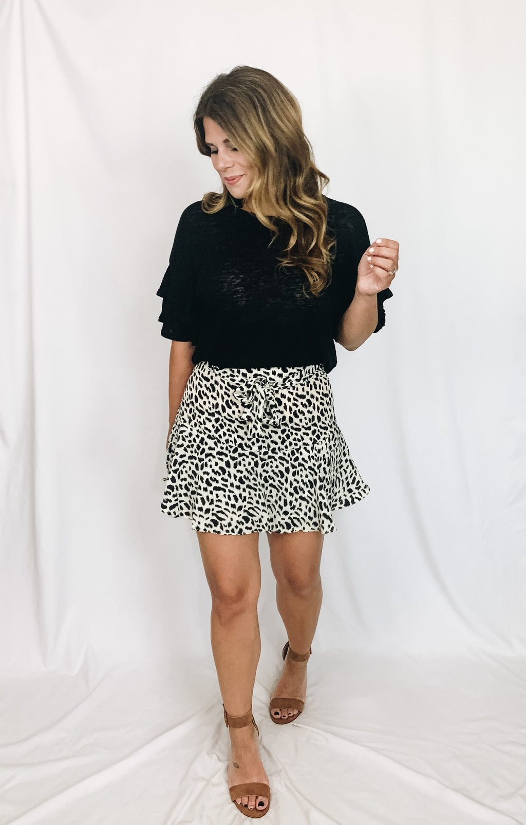 Allie Leopard Skort- White