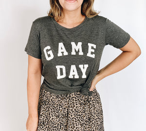 Game Day Tee- Charcoal