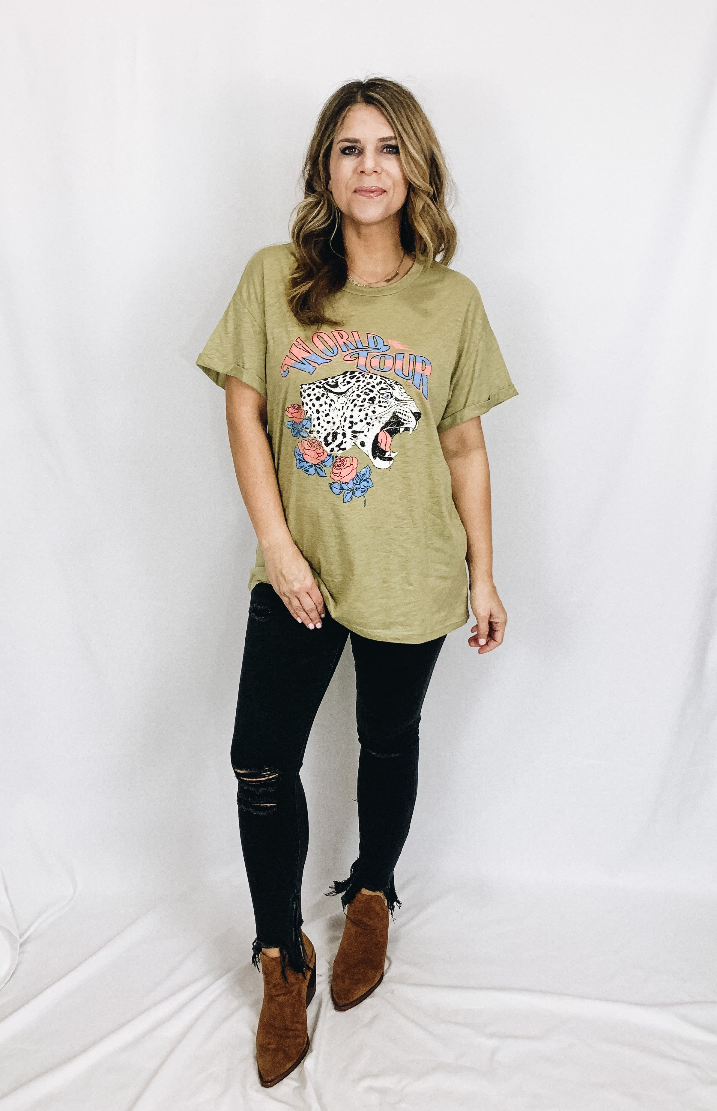 World Tour Leopard Graphic Tee