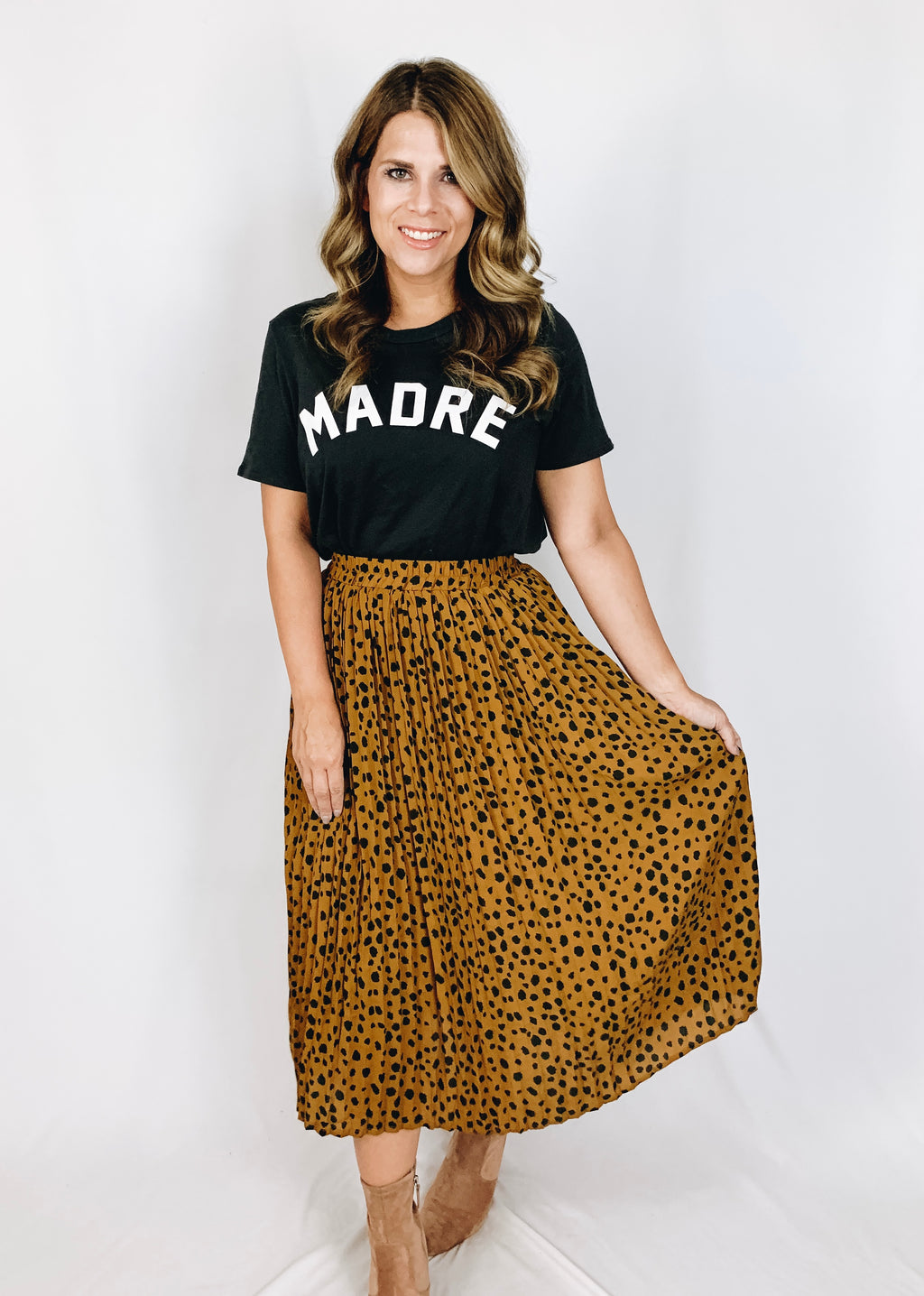 Ava Leopard Pleated Skirt