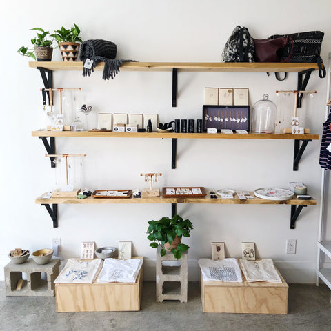 Shop display of shelves featuring locally made, independent products