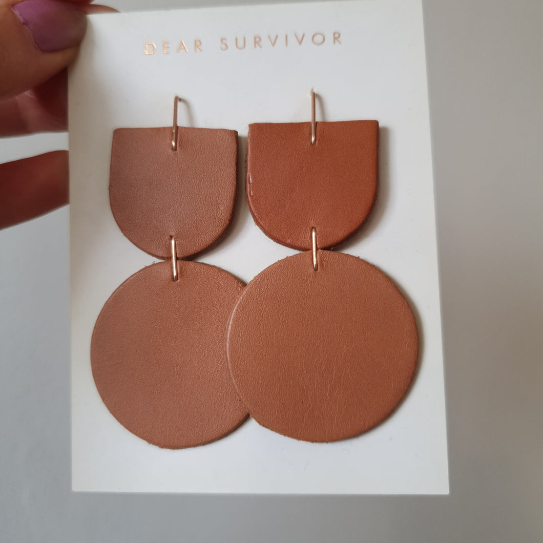 Leather Circle Earrings Brown