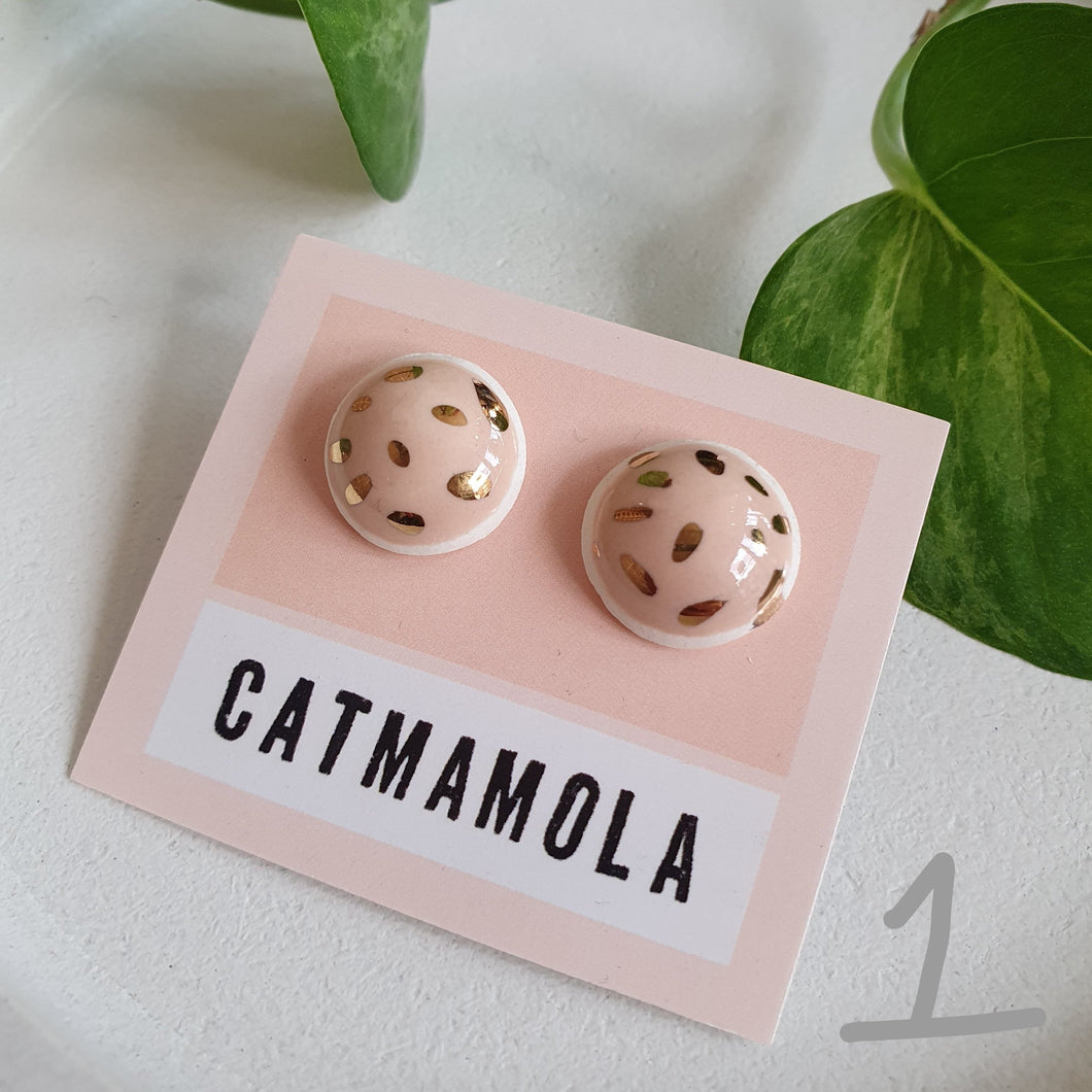 Ceramic Studs by Catmamola - Pink