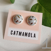 Load image into Gallery viewer, Ceramic Studs by Catmamola - Grey