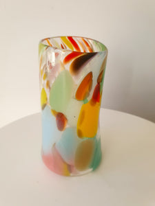 Multicolor Crackle Glass Vase